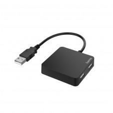 USB хъб HAMA, 4 портов, USB 2.0, 480 Mbit/s, Черен