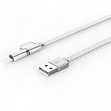 Кабел за данни, LDNIO LC84, 2 в 1, Micro USB + Lightning (iPhone 5/6/7/SE), 1.0m, С оплетка, Бял