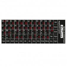 Букви за клавиатура ,Кирилица(червени) и латиница(бели), Черен фон