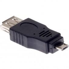 Преходник No brand, USB AF към Micro USB 5P M, Черен