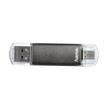USB памет HAMA Laeta Twin 64GB, USB2.0, Сив - HAMA-123926