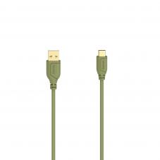 Кабел Hama Flexi-Slim USB-C - USB-A 2.0 мъжко, 0.75м,тънък, позлатен, зелен