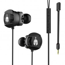 Геймърски слушалки тапи с микрофон Spartan Gear Agoge, Черен
