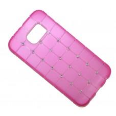 Протектор DeTech за Samsung S6 Edge, С кристални камъчета, Силикон, Розов  - DE-51344