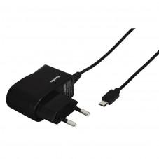 Зарядно HAMA 173670,  220V, MicroUSB, 1 A, с кабел, Черен